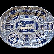 "Greek Pattern Blue Spode 20"" Platter Circa. 1810"