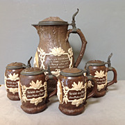 Mettlach 5 Piece Jug and Stein Set