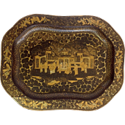 """Chinoiserie Lacquered Tray Black and Gold 16"""""""