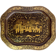 """Chinoiserie Black and Gold Lacquered Tray 18"""""""