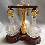 Perfume Tantalus Gorham Sterling and Cut Glass Bottles Circa 1857