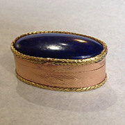 Lapis Pill Box 18K Multi-color Gold 19th Century