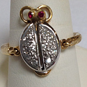 Diamond Lady Bug Ring 18 Karat