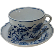 Royal Bavarian Breakfast Cup and Saucer With Blue Floral Patterns and Scalloped Rims