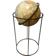 Paul McCobb World Classic Series Globe on Modern Iron Stand