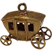 Gold  Coach Charm- Moving Wheels