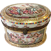 Large Capodimonte Domed  Box 19thc