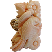Angel Skin Coral Carved 14K Bird Ring