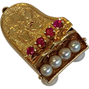 Piano Charm With Rubies and Pearls 14K Gold