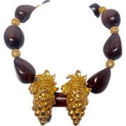 Dominique Aurientis Grapes and Wood Beads Necklace