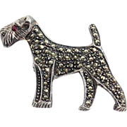 Silver and Marcasite Terrier Dog Brooch