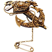 Tortoise Pique Faith Hope Love Pin  Victorian with Moonstones