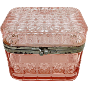 Russian Pink Glass Casket Signed Dated 1903