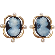 Hardstone Cameo 14k Gold Earrings With Pearls