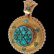 Etruscan Revival Locket Persian Turquoise 9 Karat Gold
