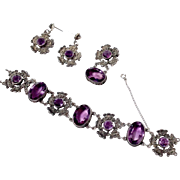 Sterling and Amethyst Bracelet and Earrings