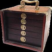 Antique Mah Jongg Brass Mounted Box