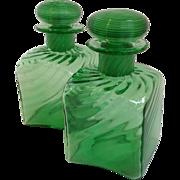 Pair of Steuben Green Glass Cologne Bottles