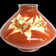 """Ando Large Cloisonne Orchids Enamel Vase 8"""""""
