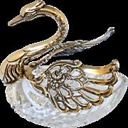 Large Swan Sterling Cut Glass Salt