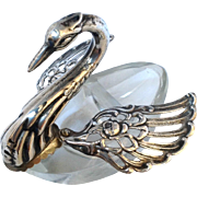Swan Salt 800 Silver And Glass Movable Wings