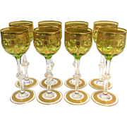 8 St. Louis Light Green Crystal Hock Wine Stems