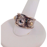 Kieselstein & Cord Gold And Sterling Frog Ring 14k Size 6.5