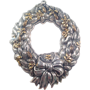 Buccellati Wreath Christmas Ornament Sterling With Gold 1991