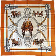 "Hermes ""Equipages"" Silk Scarf by Ledoux 35"""