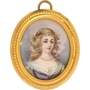 Miniature Portrait in Gilt Bronze Frame Young Lady 19th c.