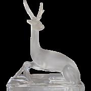 Lalique Frosted Sitting Sef Deer on Base  #11630