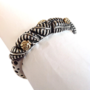 Diane Malouf Cuff 14 Karat Gold and Sterling Ladybugs And Leaves