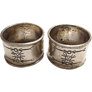 Pair of Native American Napkin Rings Dinner Size Sterling