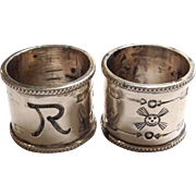 Pair of Native American Napkin Rings Tea Size Sterling