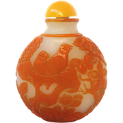 Chinese Snuff Bottle Peking Glass Orange