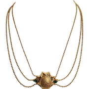 Emerald Three Strand Medallion Italian 14 Karat Necklace