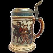 Mettlach Ten Men Drinking Stein #2028