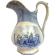 Large Spongeware Pitcher Transfer Scene Asian Men Celebrating 19th c.