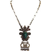 Mexican Malachite Head Convertible Pin Or Necklace Sterling