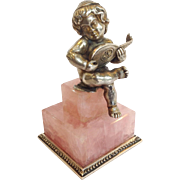 Sterling Putti Musician on Rose Quartz Base Italy