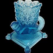 Badger Blue Glass Footed Salt