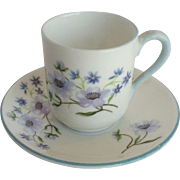 Miniature Shelley Blue Rock Cup and Saucer England
