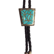 Bolo Tie Turquoise Inlay Sterling