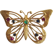 Butterfly With Colored Stones Pin 14k
