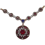 Ruby Sapphire Pendant Necklace Silver Vintage India
