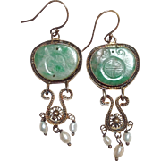 Carved Jade And Pearl Gold Earrings Dangle 14K