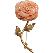 Angel Skin Coral Carved Rose Pin 18K