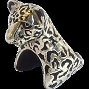 Pair of Emilia Castillo Black Jaguar Napkin Rings Plata Pura