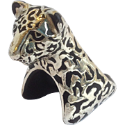 Pair of Emilia Castillo Black Jaguar Napkin Rings Plata Pura