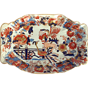 "Mason's Ironstone 'Peacock' Oval 11"" Cake Dish Early 1800's"